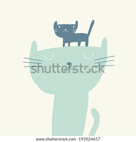 Vector illustration of a cute cat and a kitten for fathers day - stock vector