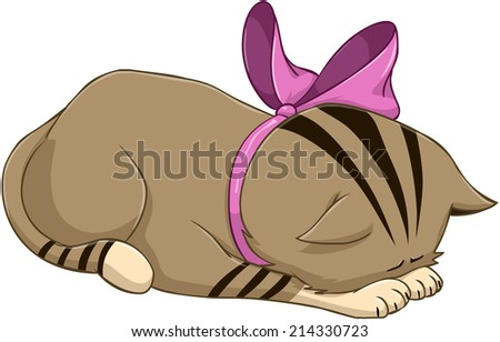 Vector illustration of a cute kitten bows in apology  - stock vector