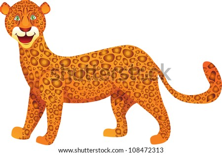 vector illustration of a cute leopard, cartoon style - stock vector
