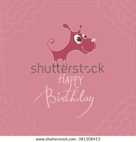 Vector illustration of a cute puppy with big eyes, congratulations happy birthday - stock vector