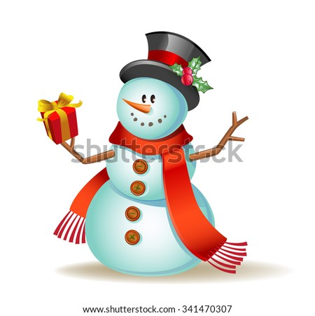 Vector illustration of a Cute snowman with gift in a hand. - stock vector