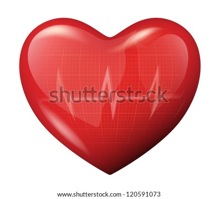 Vector illustration of a 3d red heart and ECG cardiogram reflection icon - stock vector