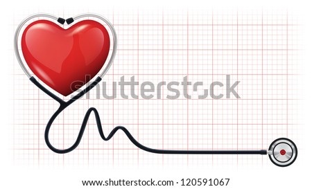 Vector illustration of a 3d red heart with a realistic stethoscope on cardiogram background - stock vector
