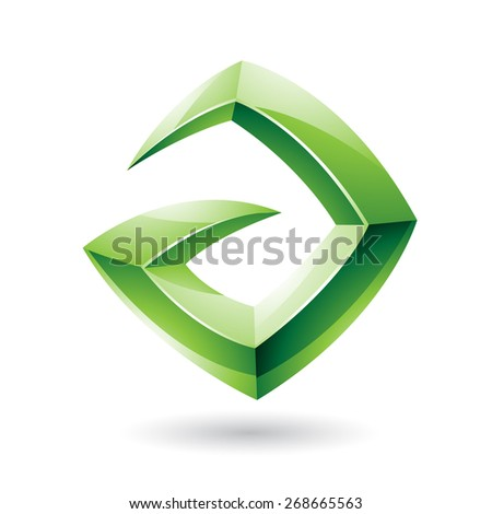 Vector Illustration of a 3d Sharp Glossy Green Logo Shape based on Letter A  - stock vector