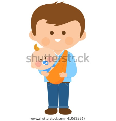 Vector Illustration of a dad carrying his baby in a sling. - stock vector
