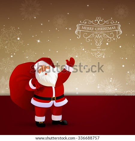 Vector Illustration of a Decorative Christmas Background with Santa Claus - stock vector