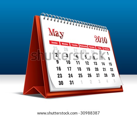 Vector illustration of a 2010 desk calendar showing the month May - stock vector