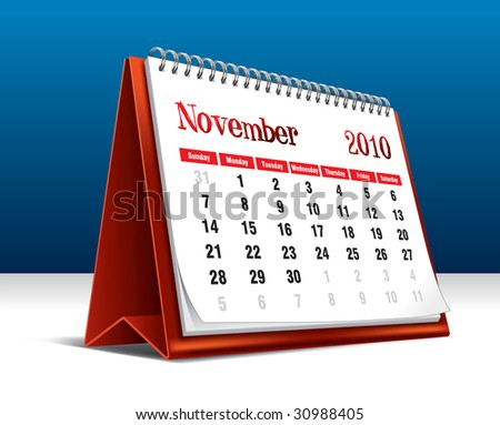 Vector illustration of a 2010 desk calendar showing the month November - stock vector