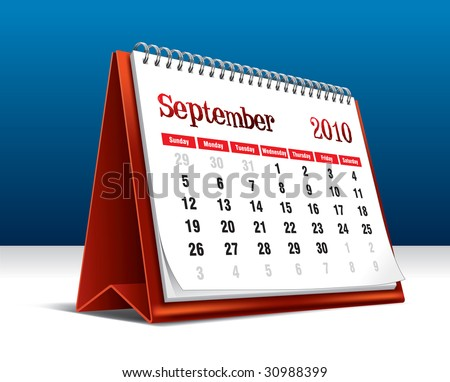 Vector illustration of a 2010 desk calendar showing the month September - stock vector