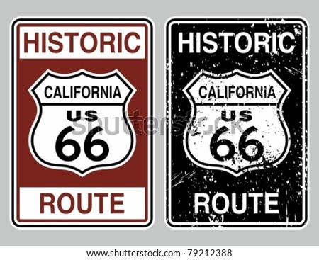 Vector illustration of a distressed historic route 66 road sign. - stock vector