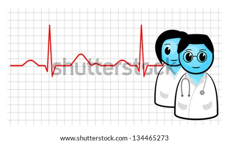 vector illustration of a doctor and nurse with ecg curve - stock vector