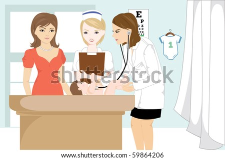 Vector illustration of a doctor examining a baby at her office - stock vector