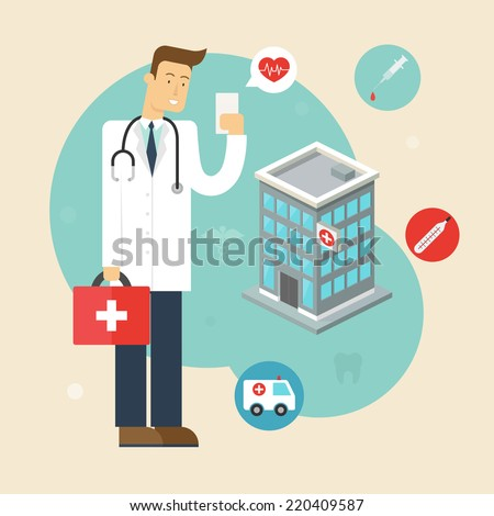 Vector illustration of a doctor with the phone in his hand near the hospital. Flat style  - stock vector