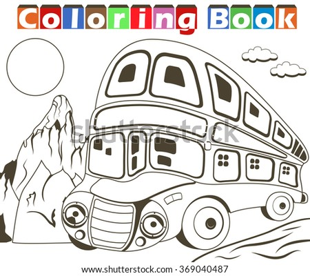 Vector illustration of a double decker bus image for a coloring book - stock vector