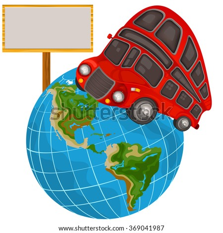 Vector illustration of a double decker bus on a planet and with an empty banner - travel icon - stock vector