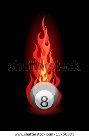 Vector illustration of a 'Eight' billiard ball in fire on black background - stock vector