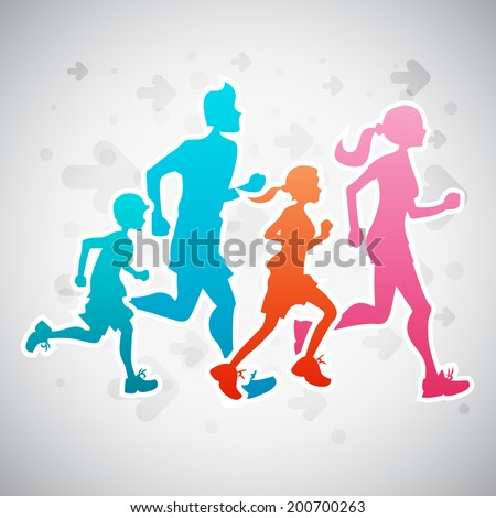 Vector illustration of a family running exercise. - stock vector