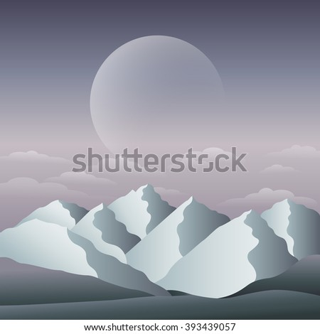 Vector illustration of a fantasy landscape with mountains - stock vector