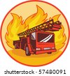 vector illustration of a Fire truck or engine with flames in background set inside a circle. - stock vector