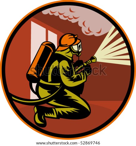 vector illustration of a Fireman firefighter kneeling with fire hose fighting fire and smoke set inside circle - stock vector