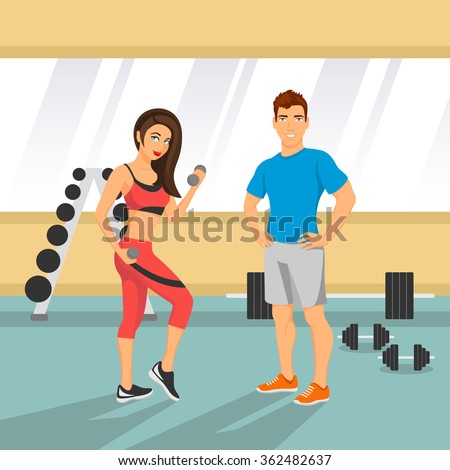 Vector illustration of a fit couple in an a gym. - stock vector