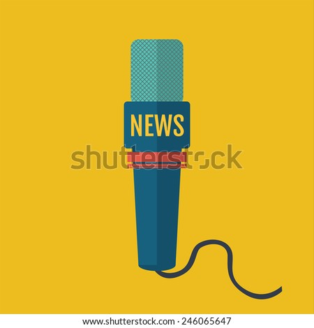 vector illustration of a flat or a microphone icon journalist news channel - stock vector