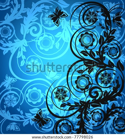 vector illustration of a floral ornament with butterfly - stock vector