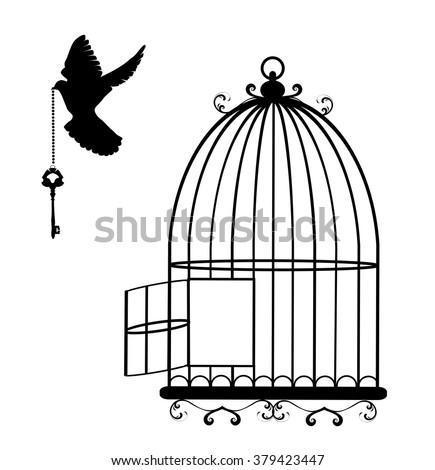 Open Birdcage Silhouette Birds Open Silh...