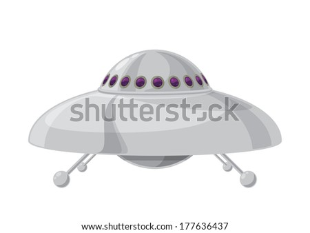 Vector illustration of a flying saucer. Illustration made from scratch in Adobe illustrator. This is a .eps 10 file. Some transparencies were used to create the shadows and highlights on image. - stock vector
