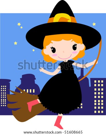Vector illustration of a flying witch. - stock vector