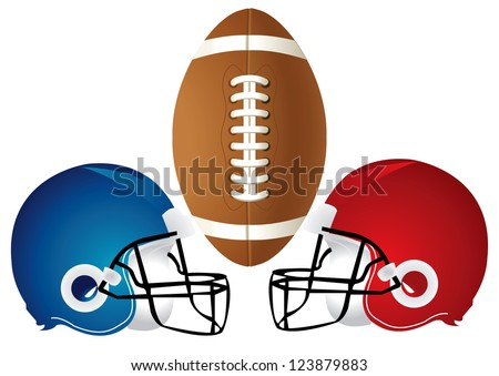 Vector Illustration of a football design with helmets. - stock vector