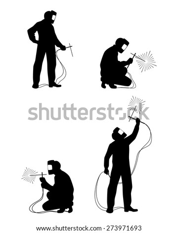 Vector illustration of a four welders silhouettes - stock vector
