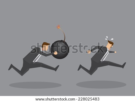 Vector illustration of a frightened businessman running away from a aggressive businessman with a ignited giant bomb  - stock vector