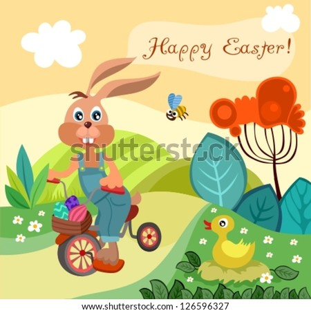 vector illustration of a funny bunny - stock vector