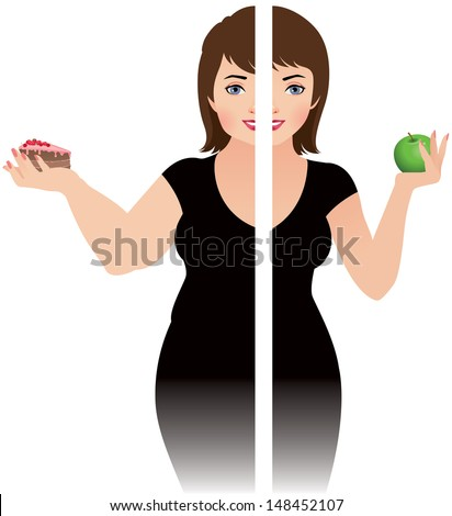 Vector illustration of a girl before and after diet/Before and after a diet/ Vector illustration of the result of a healthy diet - stock vector