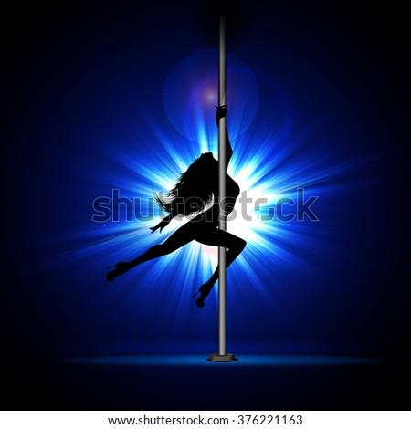 Vector illustration of a girl dancing striptease. - stock vector