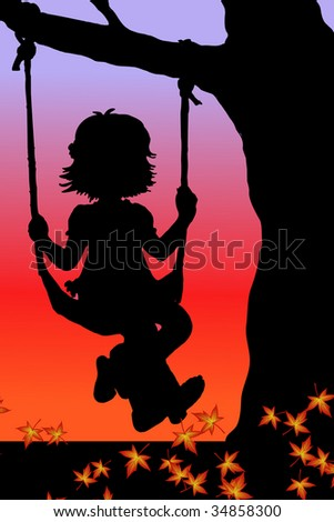 vector illustration of a girl on swings - stock vector