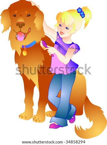 vector illustration of a girl with a dog - stock vector