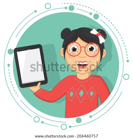 Vector Illustration Of A Girl With A Tablet - stock vector