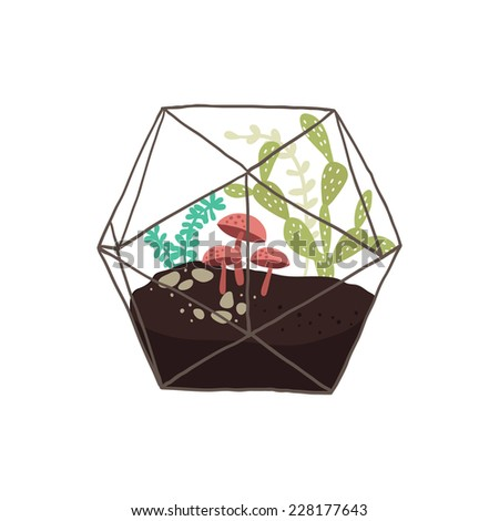 Vector illustration of a glass terrarium with plants - stock vector