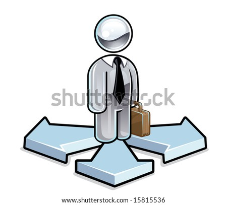 Vector illustration of a glassy businessman character standing on three arrows, deciding his next course of action - stock vector