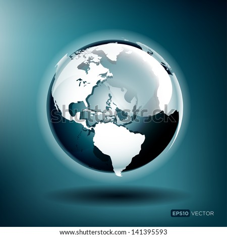 Vector illustration of a glossy globe on a blue background - stock vector