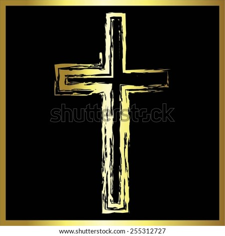 Vector illustration of a gold cross on the black. - stock vector