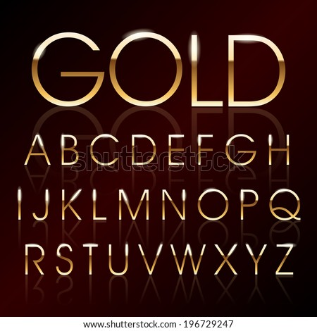 Vector illustration of a golden alphabet - stock vector