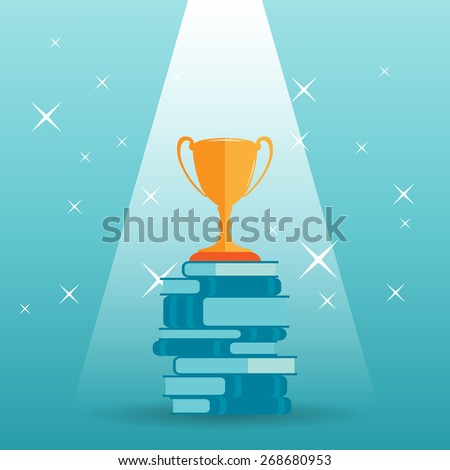 Vector illustration of a golden trophy on top of a stack of books. - stock vector