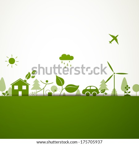 Vector Illustration of a Green Ecology Background - stock vector