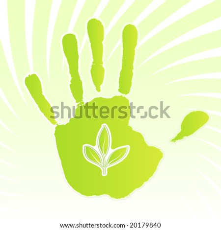 Vector illustration of a green ecology design handprint with swirly background and leaf icon. - stock vector