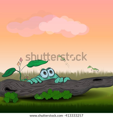 Vector illustration of a green frog and grasshoppers - stock vector