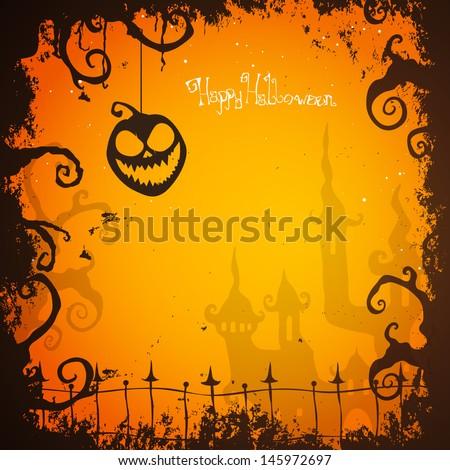 Vector Illustration of a Green Halloween Card - stock vector
