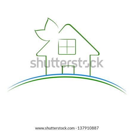 Vector illustration of a green house icon - stock vector